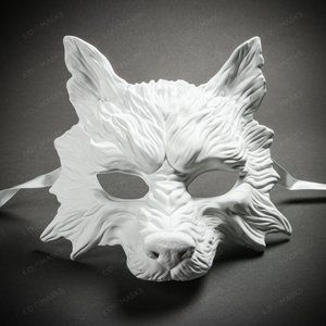 DIY Blank White Halloween Mask Wolf Masquerade